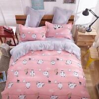 Panda Pink Printing Bedding Set Duvet Quilt Cover+Sheet+Pillow Case Four-Piece
