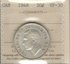 1948 Fifty Cents ICCS VF-30 * HIGH Grade LOW 37,784 Mintage George VI Canada 50¢
