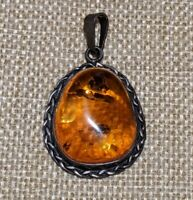 Vintage Estate Sterling Silver 925 Large Amber Pendant Braided Artisan