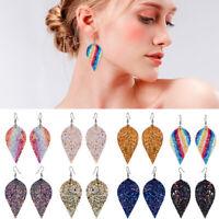 Women Bling Leaf Teardrop Leather Earrings Ear Stud Hook Drop Dangle Jewelry Lot