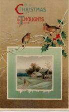 VINTAGE CHRISTMAS GREETING postcard: RURAL SCENE & ROBIN BIRDS