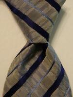 MASSIMO BIZZOCCHI by KITON Men's Silk Necktie ITALY Luxury STRIPED Gray/Blue GUC