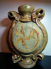 """OLD RARE VASE UNIQUE DESIGN THICK AND HEAVY HANDMADE POTTERY 14""""SIGNED by MASTER"""
