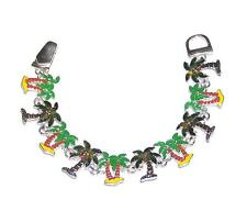 "Bracelet 7 1/4"" Long Silvertone & Colorful Enamel Links Vacation Palm Trees"