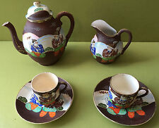 SERVICE A CAFE PORCELAINE JAPON 1 POT 2 TASSES + SOUCOUPES 1 CAFETIERE