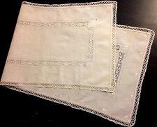 Old Vintage Off-white Elegant Runner Bobbin Lace Hem & Insertions Embroidery, Dr