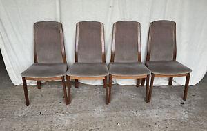 Set Of 4 Retro Teak G Plan Dinning Chairs - Vintage - Upholstered