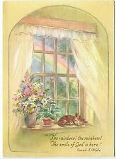 VINTAGE KITTEN CAT SLEEPING RAINBOW SPRING GARDEN FLOWER ART BDAY GREETING CARD