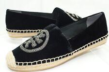 New Tory Burch Logo Chain Espadrille Shoes Ballet Flats Size 7.5 Black Sale