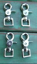 "Lot 4 Nickel Plated Trigger Scissor Rein Snaps Flat Square End Swivel 3/4"""