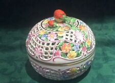 More details for herend porcelain handpainted 15 cm d.bonbonniere 6212/c stem to be re-attached .