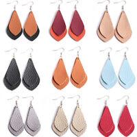Bohemian Teardrop Drop Dangle Leather Earrings Women Ear Stud Jewelry Gif UgPY