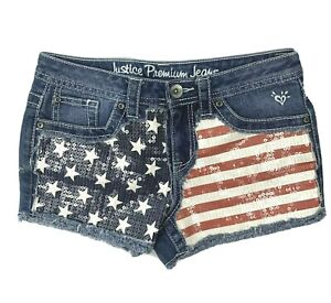 Justice Premium Jeans Girls Size 10 1/2 Denim Sequined Shorts American Flag