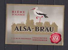 Ancienne étiquette Alcool  France Bière   Gruber Alsace Cigogne 2 Strasbourg