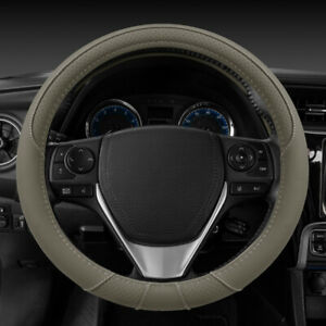 BDK Ergo Grip Microfiber Leather Steering Wheel Cover Universal Fit - Beige