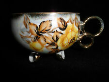 LOVELY IRIDESCENT WHITE LUSTERWARE YELLOW ROSE PATTERN FOOTED CUP W/ GOLD TRIM