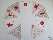 PERSONALISED BUNTING CATH KIDSTON WILD STRAWBERRY FABRIC £2.50/lettered flag