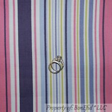 BonEful Fabric FQ Cotton Quilt Benartex City Girl Pink Purple White Green Stripe