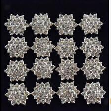 10pcs Silver Flower Flatback Buttons DIY Craft Wedding Bouquet Embellishment