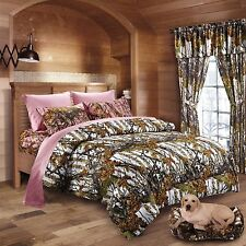7 PC WHITE WOODS CAMO COMFORTER AND PINK SHEET SET QUEEN SIZE CAMOFLAUGE BEDDING