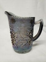 Vintage Imperial Pitcher, Blue iridescent carnival glass with grape pattern