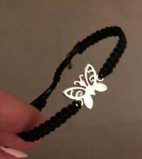 Silver Charm Bracelet Black Cord Handmade