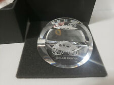 Wells Fargo Crystal Paperweight Business Card Holder Wf Wagon Logo Stage Coach