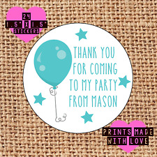 Personalised 24 party bag stickers sweet cone labels thank you blue balloon boy