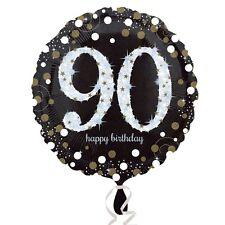 "90th HAPPY BIRTHDAY 18"" Round Black & Gold Foil Helium BALLOON Party 90"