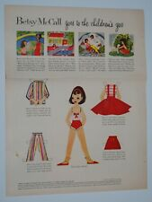 Betsy McCall 1958 Goes To The Children's Zoo Paper Doll Magazine Page Uncut