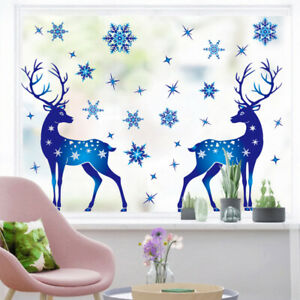 Christmas Blue Window Sticker Removable Elk Deer Snowflake Wall Sticker Decor