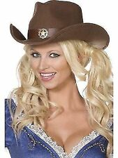 Fancy Dress Western Cowboy Cowgirl Wild West Brown Felt Hat 36267