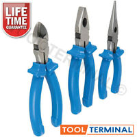 Heavy Duty 3pc Pliers Set with Combination Long Nose & Side Cutters 160mm - 6in