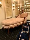 Antique Louis XVI Style Hand Carved Upholstered French Chaise Lounge