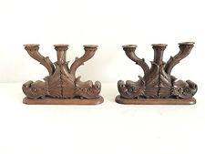 Ancienne paire de Bougeoirs en bois sculpter - Foret Noir