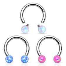 Horseshoe Septum Lip Piercing Ear Tragus Helix Intimate Ring Opal Imitation White