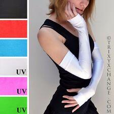 Long White Fingerless Gloves Elbow Length Arm Warmers Spandex Glow Raver 1002