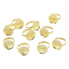 10 Gold Tone rotondo regolabile 16 mm DIY anello Base vassoio X8R8