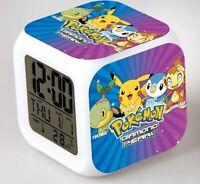 Boy Children Pokemon Pikachu Digital Led Alarm Clock night light Christmas Gift