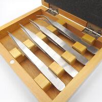 Set 4 Brucelles de précision pour horloger en coffret bois - Set of 4 Tweezers