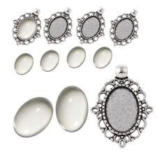 6 SET Cabochon Klar Glas 18mm Silber Fassungen Oval Anhänger Medaillons DIY