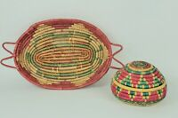 Set of 2 Vintage Mexican Coiled Baskets Lid Handles Colorful Folk Art Mexico