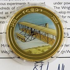 WRIGHT FLYER  2003 GOLD PLATED PROOF 39mm MEDAL - coloured centre - coa