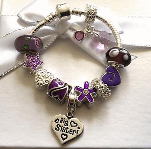 Personalised childrens girls purple silver heart charm bracelet FAST DISPATCH