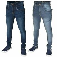 Mens Skinny Jeans Flex Stretch Slim Fit Denim Trouser Pants All Waist Size 28-42