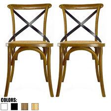 Set of 2 Walnut Cross Back Chair X Back Modern Wood Dining Chair Kitchen Desk