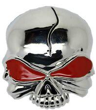 Skull Head Belt Buckle Silver Metal Red Eye Mens Gift