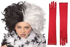 Cruella de Vil Black White Wig Red Long Satin Gloves Costume Set Deville Spot