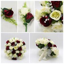 Silk Artificial Wedding Flowers Burgundy & Ivory Bouquet Posy Buttonholes