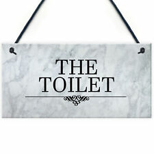 The Toilet Sign Marble Theme Hanging Bathroom Toilet Loo Sign Home Decor